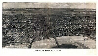 1905 OMAHA NEBRASKA DOUGLAS county panoramic map GENEALOGY poster ne6