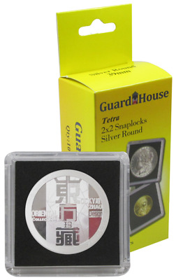 5 Guardhouse Tetra 2x2 Coin Holder Snap Capsule 39mm Silver Round Poker Case