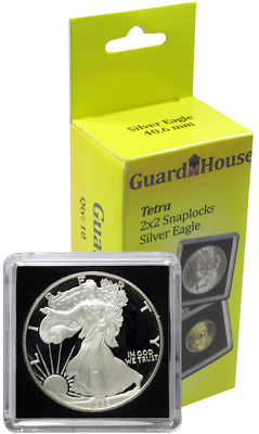 5 Guardhouse Tetra 2x2 Coin Holder Snap Capsule 40mm American Silver Eagle Case