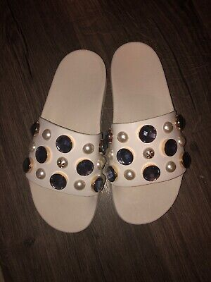 ace642f19007 Tory Burch Logo Crystals Flip Flop Sandal Flat Vail Pearl Pool Slide Mules 7