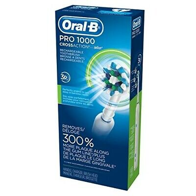 Electric Rechargeable Toothbrush Oral B Braun Pro 1000 3D Cross Action Black New