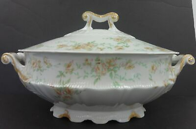 Antique Theodore Haviland Limoges Floral Oval Covered Tureen Circa 1903