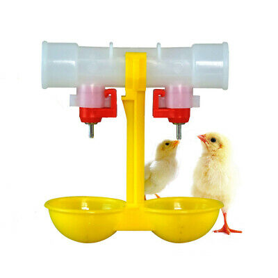 1/2x Automatic Cup Tube Chicken Waterer Poultry Chook Birds Water Feeder Drinker