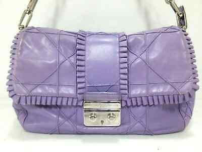 ebb61fd6ab6 AUTH CHRISTIAN DIOR Cannage Stitch Purple Leather Shoulder Bag ...