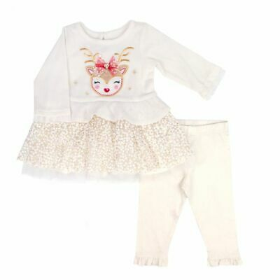 d616d7281 Nannette Baby Girls 2 Pc Tutu Dress and Legging Set Ivory CHRISTMAS Reindeer  NWT