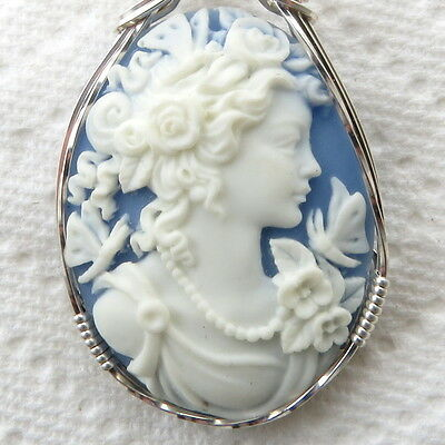 Goddess Butterfly Cameo Pendant .925 Sterling Silver Jewelry Blue Resin