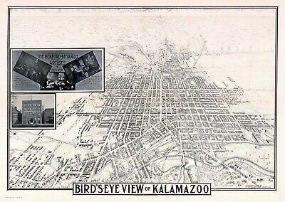 1908 KALAMAZOO MICHIGAN panoramic map GENEALOGY poster mi21