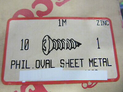 "(1000) 10 X 1"" Zinc Phillips Sheet Metal Screws Oval Head Free 2 Day FedEx"