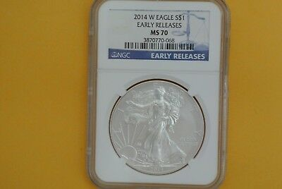 2014-W (Burnished) $1 American Silver Eagle NGC MS70 Early Releases