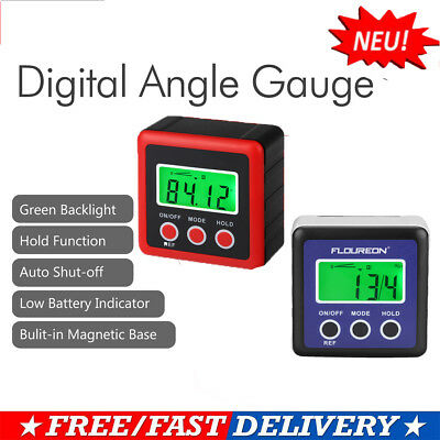 Large LCD Bevel Box Gauge Angle Finder Protractor Inclinometer Magnetic Base
