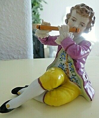 Antique Man Boy Playing Flute Muller Volkstedt German Dresden Lace Porcelain