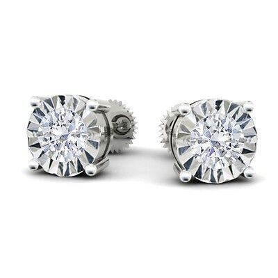 0.35ct Round Solitaire Diamond Stud Earring in 14K White Gold