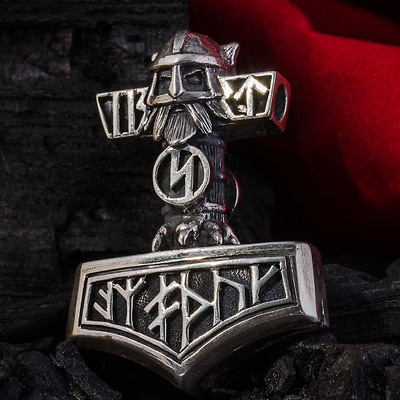 Sterling Silver 1.23oz (35gr) THORS HAMMER Pendant THOR Necklace Viking Mjolnir