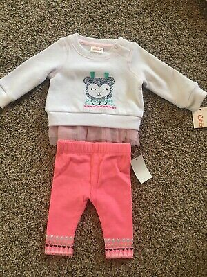 63db9710f NWT CAT & Jack Baby Girl Clothes 0-3 Months 2 Piece Sweatshirt/Pants ...