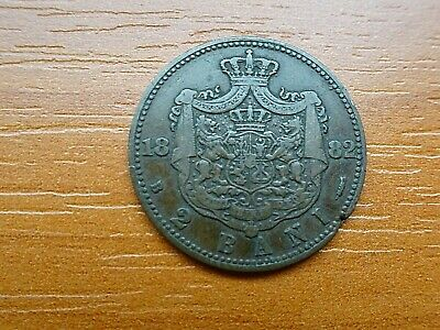 Romania 2 Bani 1882 B Carol I 1881-1914 AD Very Rare Copper Coin