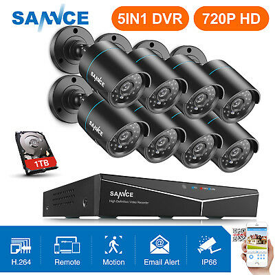 SANNCE 5in1 1080P HDMI 8CH / 4CH DVR Security Camera System CCTV IR CUT NO/1TB
