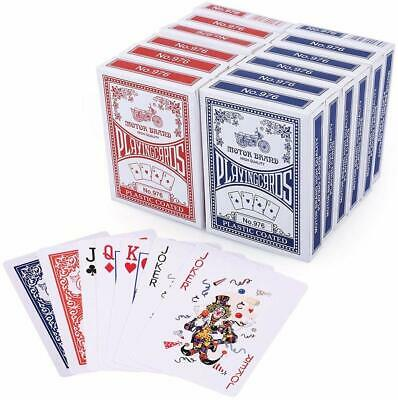 LotFancy Poker Size Standard Index Playing Cards, 12 Deck Player's Pack Red&Blue