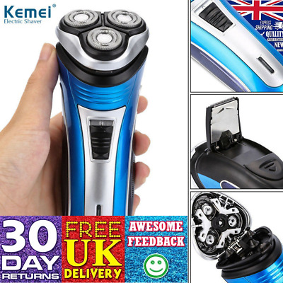 Kemei Mens Electric Shaver Rechargeable Rotary Razor Trimmer Floating Heads UK