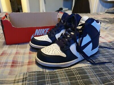 best service f3949 eb882 NIKE Dunk Retro QS Hi Top Trainers UK 3.5 navy and white