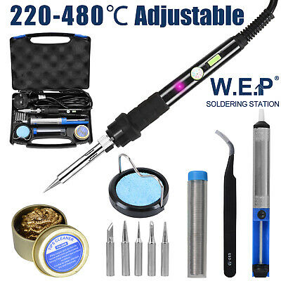 WEP 60W Soldering Iron Kit Welding Adjustable Temperature 6 Tips Pump 12 in 1