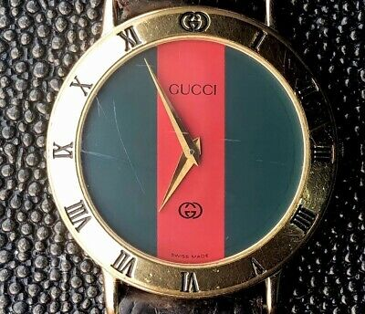 2b93d615ad1 Vintage Men s Gucci Watch 3000m Red Green Face Gold rim   leather wrist band