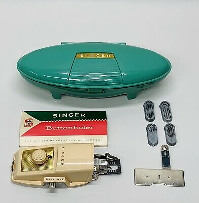 Vintage 1960 Singer Buttonholer. Green Clamshell Case And Manual. Four Sizes