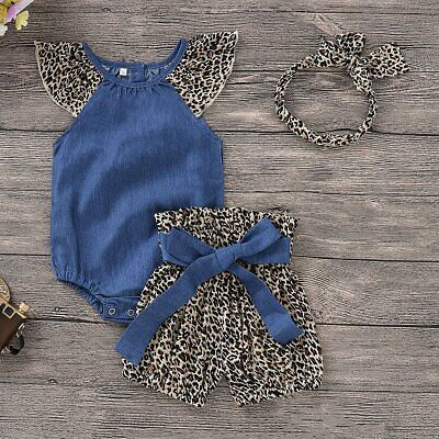 3PCS Newborn Kids Baby Girls Romper Bodysuit Jumpsuit+Shorts Pants+Headband Set