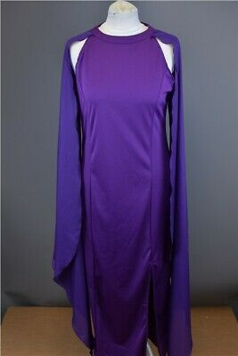 Vintage Women's Evening Dress Purple Column Maxi Length Draped Sleeves UK 10-12