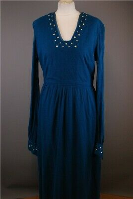 V&R Ladies Long Dress, 1970s Evening wear English Lady Size 16(Blue) With Studs