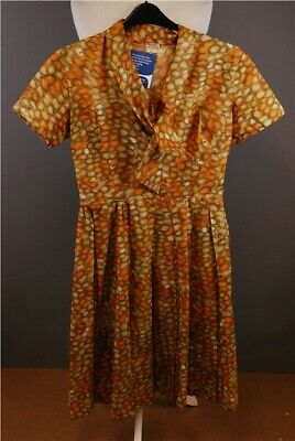 "Vintage Tergal Dress Multi Coloured Brown Orange Pleated 36"" Bust 42"" Length"