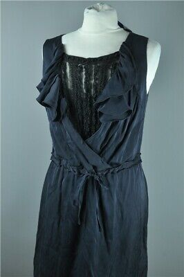 Dark Blue & Black Lace Silk Blend Dress by Elie Tahari Smart Occasion Size 12
