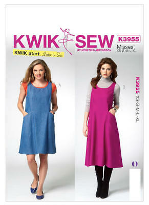Kwik Sew Sewing Pattern 3955 Misses Xs - XL Easy Swing Tent Dresses Learn to Sew