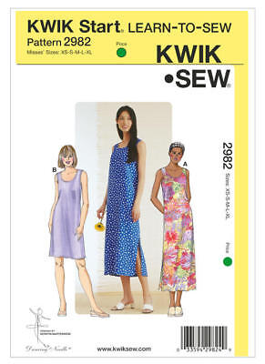 Kwik Sew Sewing Pattern 2982 Misses XS-XL Easy Pullover Dresses Learn to Sew