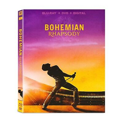 BOHEMIAN RHAPSODY Blu-ray/DVD/Digital (CASE,SLIP COVER,CODE, & ALL DISC)