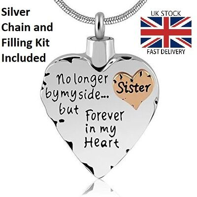 Sister Keepsake Heart Cremation Urn Pendant Ashes Necklace Funeral Memorial