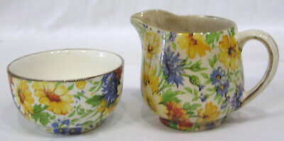 Vintage LOT Two Miniature Items Old Foley Chintz Marigold Creamer Bowl Floral