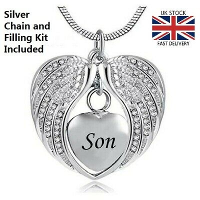 Son Angel Wing Heart Cremation Urn Pendant Ashes Necklace Funeral Memorial