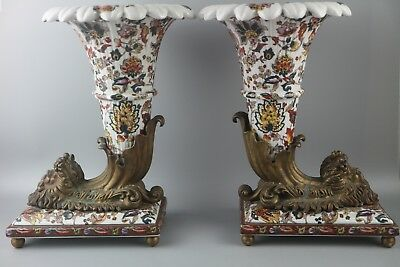 Pair of Wong Lee Floral Art Deco Porcelain & Bronze Horn Vase