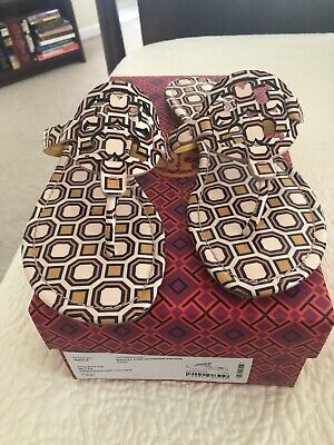 d52045e567e8 TORY BURCH SQUARE Miller Metallic Dark Gold Smooth Leather Thongs ...