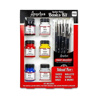 Angelus Leather Paint Starter Kit with Preparer & Deglazer and Brush Set