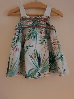 Next Green Shirred Tropical Print Tunic Vest Top Age 18-24 Months