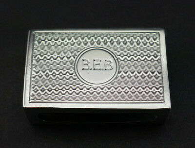 C1926, Antique Art Deco Engine Turned Solid Silver Small Match Box Holder