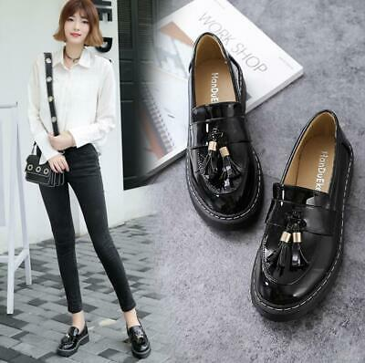 Womens Girls Slip On Loafers Tassel School Casual Flats Oxfords Shoes Retro New