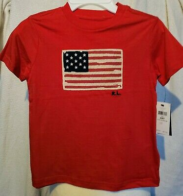 NWT NEW Boys Polo Ralph Lauren July 4th American Flag Shirt Red 3 3T 4 4T