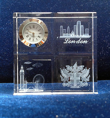 Crystal Desk Clocks with Laser Engraved Image-London Landmark - Ideal gift
