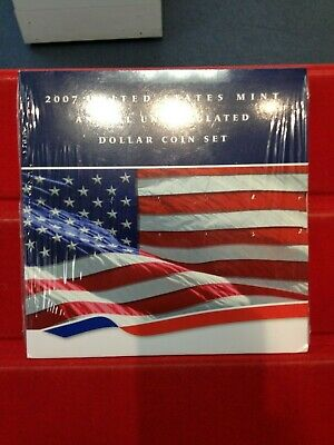 2007 U.S. Mint Annual Uncirculated Dollar Coin Set in Original Packaging & COA