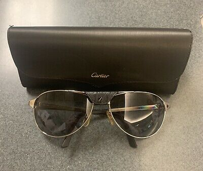 27f195948d521 Cartier Edition SANTOS DUMONT Gold Aviator Black Leather Sunglasses ESW00064