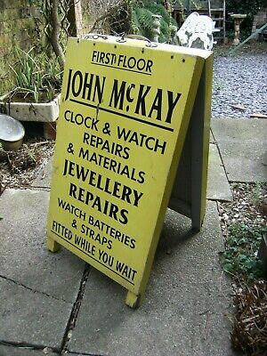 Vintage Original A Board. Clock And Watch Jewellery Repairs Retro Yellow