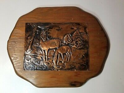 Vintage Hand Made Hammered Copper Art Picture Wall Hanging horses wood hanging