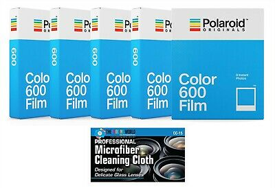 5 Pack Polaroid Originals 4670 Instant Color Film for 600 Type Cameras + Cloth